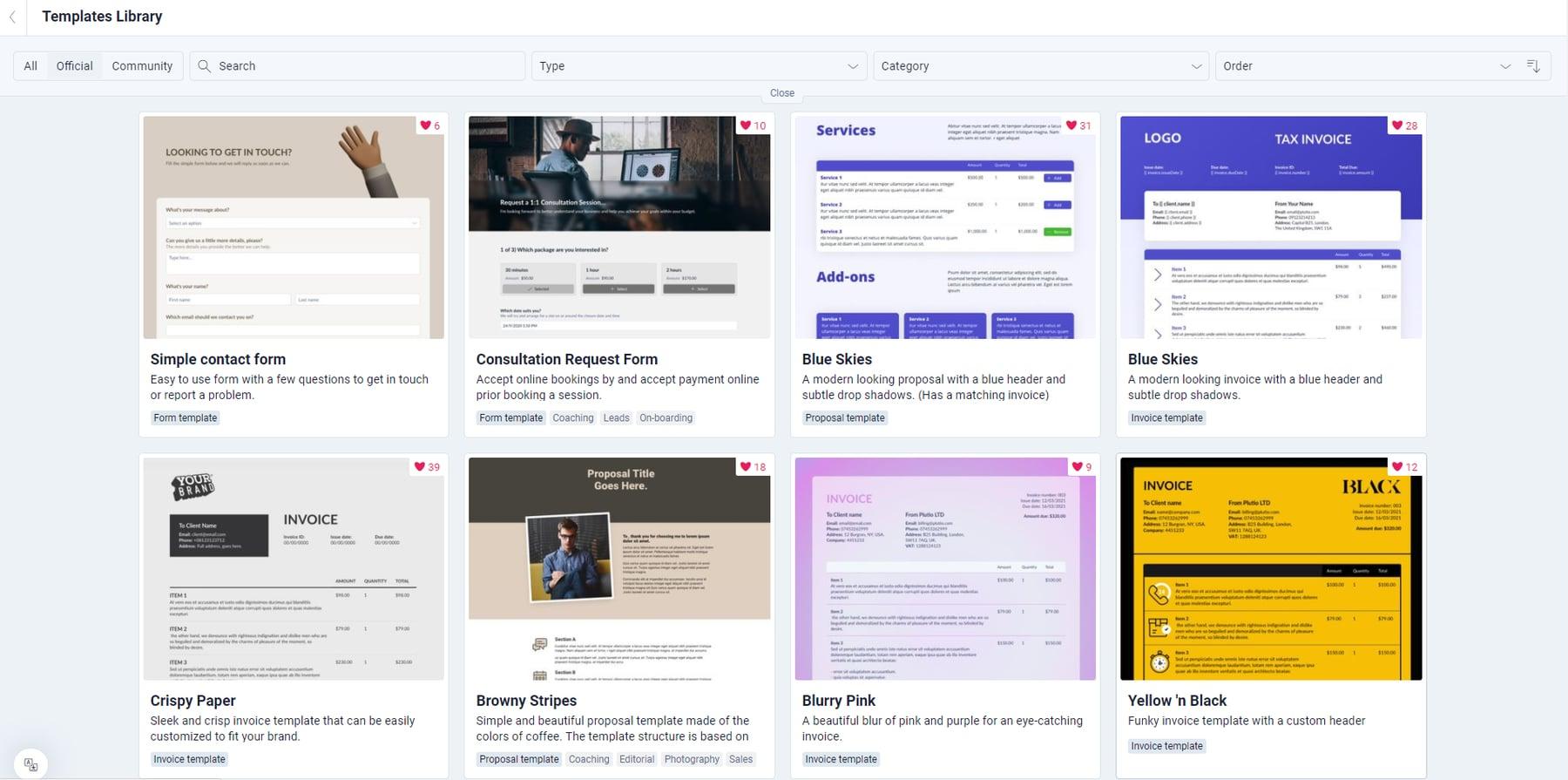 plutio review - templates
